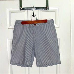Blue-grey stripped cotton dress shorts